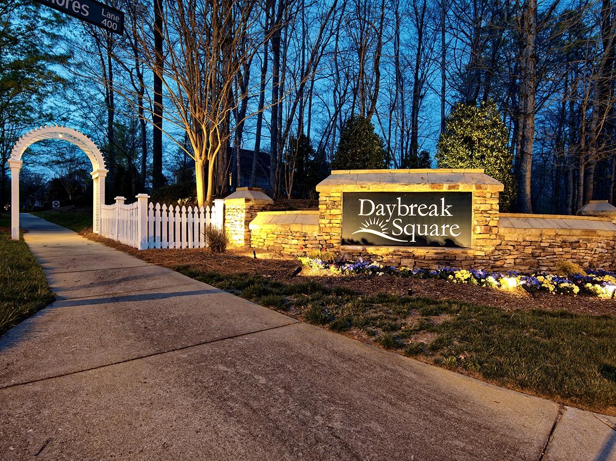 daybreak square entryway lighting for hoa community in greensboro nc