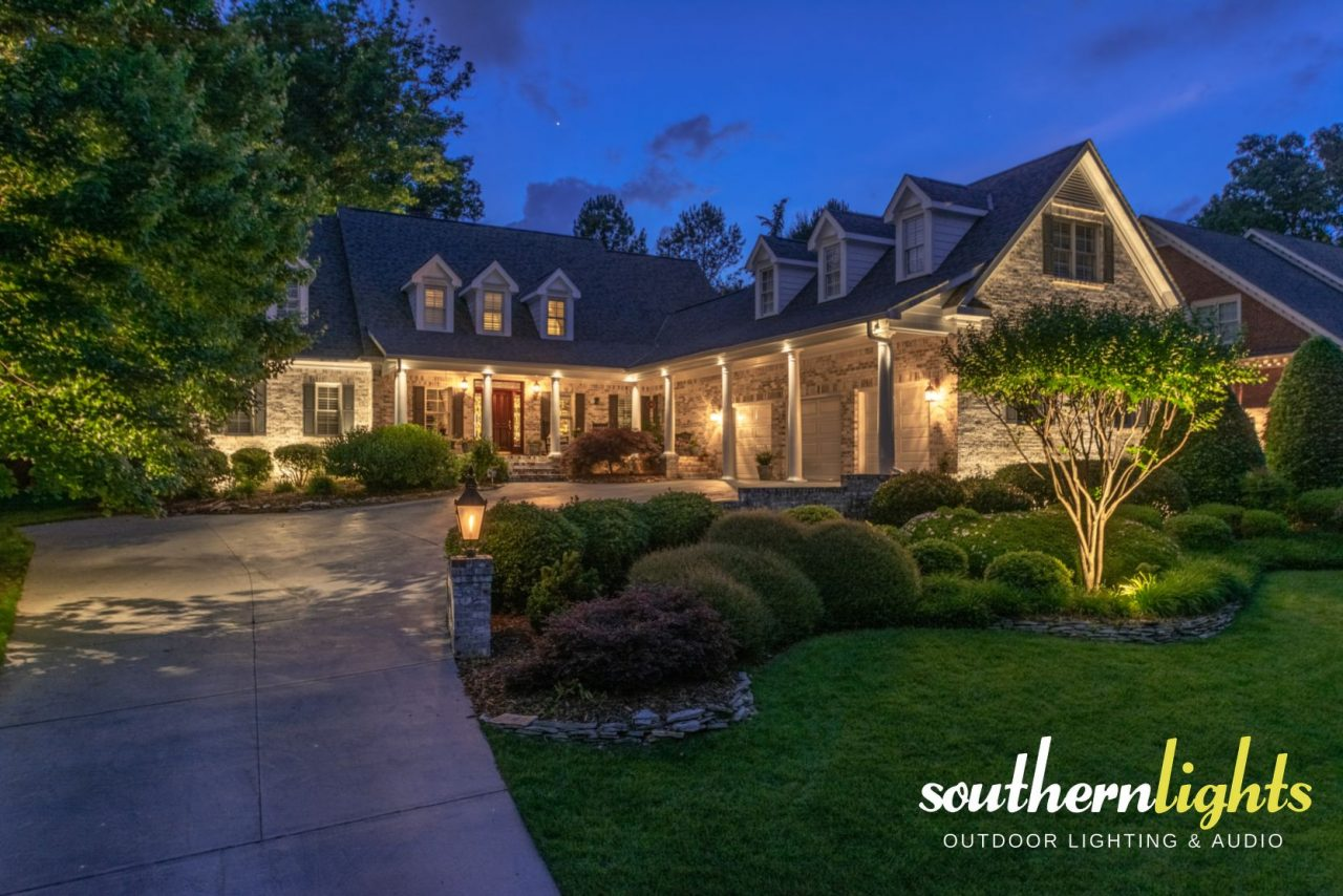 Landscape Lighting On White Brick Ranch Greensboro Nc 27455